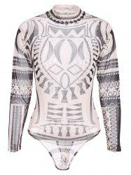 See-Through Printed Bodysuit - BROWN XL