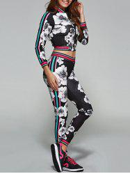 Flower Pattern Cropped Sports Suit - BLACK