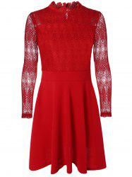 Ruffled Cut Out Lace Spliced A-Line Dress