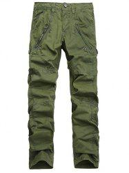 Zipper Pocket Straight Leg Stitching Cargo Pants - ARMY GREEN