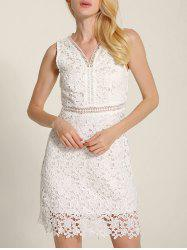 Cut Out V Neck Lace A-Line Summer Wedding Dress -