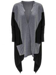 Asymmetrical Pocket Design Patchwork Cardigan -