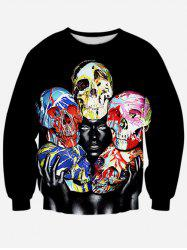 Colorful Skull 3D Print Crew Neck Sweatshirt -
