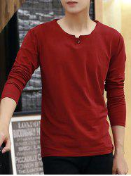 Round Neck Long Sleeve Buttoned T-Shirt