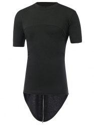 Zipper Back Round Neck High Low T-Shirt
