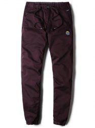 Patched Zipper Pocket Drawstring Chino Jogger Pants - DEEP PURPLE 31