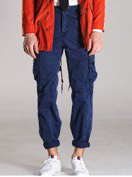 Button Pocket Zipper Fly Straight Leg Cargo Pants