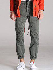 Loose Fitting Mid-Rise Zipper Fly Stitching Cargo Pants