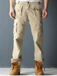Drawstring Cuff Multi-Pocket Zipper Fly Cargo Pants