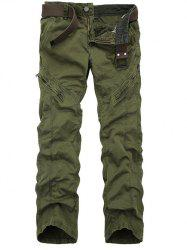 Zippered Mid-Rise Straight Leg Cargo Pants