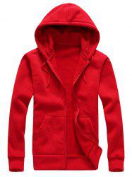 Drawstring Plain Cool Zip Up Hoodies for Men - RED XL