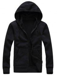 Zip Up Drawstring Plaine Hoodie - Noir