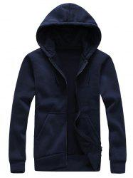 Drawstring Plain Cool Zip Up Hoodies for Men -