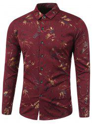 Turn-Down Collar Golden Flowers Print Long Sleeve Shirt