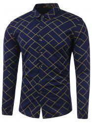 Turn-Down Collar Irregular Argyle Print Long Sleeve Shirt - YELLOW 3XL