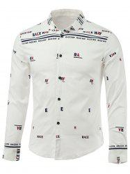 Letters Print Turn-Down Collar Long Sleeve Shirt - WHITE XL