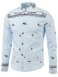 Letters Print Turn-Down Collar Long Sleeve Shirt -