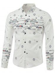Letters Printed Turn-Down Collar Long Sleeve Shirt - WHITE 3XL
