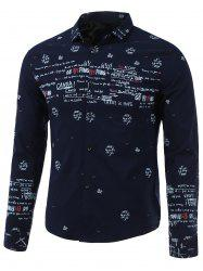 Letters Printed Turn-Down Collar Long Sleeve Shirt