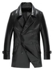 Notch Lapel Double Breasted Faux Leather Coat
