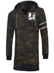 Graphic Print Button Up Camo Hooded High Low Coat -