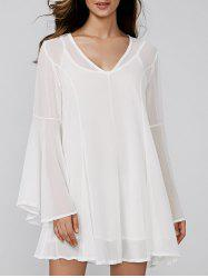 Bell Sleeve V-Neck Mini Chiffon Dress -