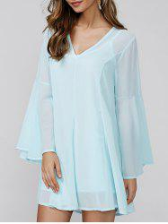 Bell Sleeve V-Neck Mini Chiffon Dress - LIGHT BLUE