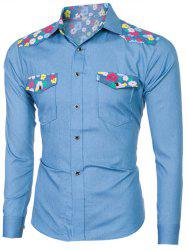 Breast Pocket Long Sleeve Floral Denim Shirt - LIGHT BLUE