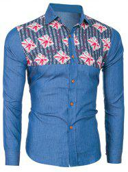 Long Sleeve Printed Insert Denim Shirt