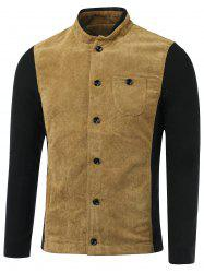 Color Block Splicing Corduroy Stand Collar Single-Breasted Jacket -