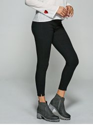 Slit Skinny Leggings With Back Pockets -
