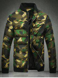Stand Collar Zip Up Camo Quilted Jacket -
