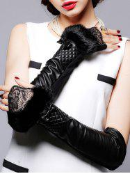 Faux Fur and Lace Embellished Plaid Leather Arm Warmers -