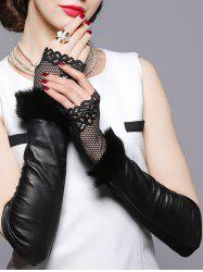 Faux Fur and Openwork Lace Embellished Leather Arm Warmers -