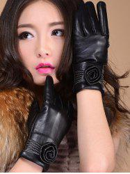 Faux Leather Flower Shape and Sewing Thread Embellished Thicken Short Gloves
