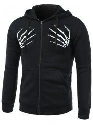 Skull Hands Print Long Sleeve Fleece Zip-Up Hoodie - BLACK