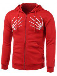 Skull Hands Print Long Sleeve Fleece Zip-Up Hoodie
