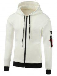 Appliques Cotton Blends Hooded Zip-Up Hoodie -