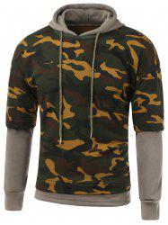 Camouflage Pattern Faux Twinset Splicing Hooded Long Sleeve Hoodie