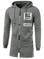 Letter Appliques Lengthen Hooded Zip-Up Hoodie