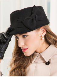 Spy Style Knotted Bowknot Short Brim Felt Hat