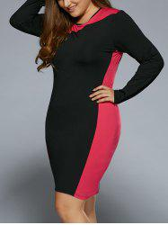 Autumn Color Block Plus Size Dress