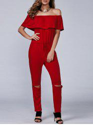 Casual Off-The-Shoulder Cut Out Jumpsuit -