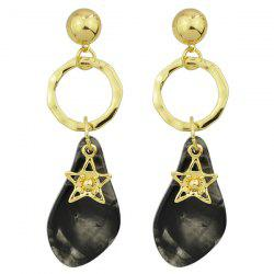 Dimple Star Ring Natural Stone Earrings