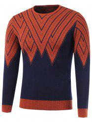 Color Block Geometric Print Round Neck Sweater -
