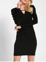 Lace Up Long Sleeve Bodycon Dress