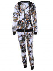 Camo Zip Up Hoodie with Running Jogger Pants
