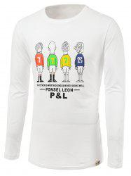 Cartoon and Letters Print Round Neck Long Sleeve T-Shirt -
