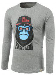 Cartoon Orangutan Print Round Neck Long Sleeve T-Shirt -