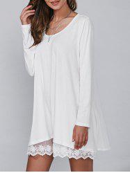 Casual Lacy Long Sleeve Tunic T Shirt Dress